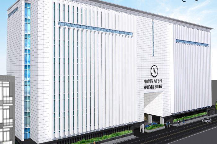 نمای شمال غربی پروژه ساختمان اداری عاطفی
